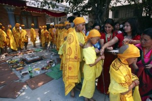 Little boys line up for a Bratabandha procession
