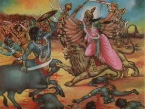 Powerful Durga slays Mahishasur on Dashami