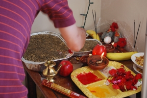 Offering eggs as prashad to the gods