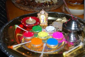 "The ""puja platter""...with the seven different colors for the tikka"