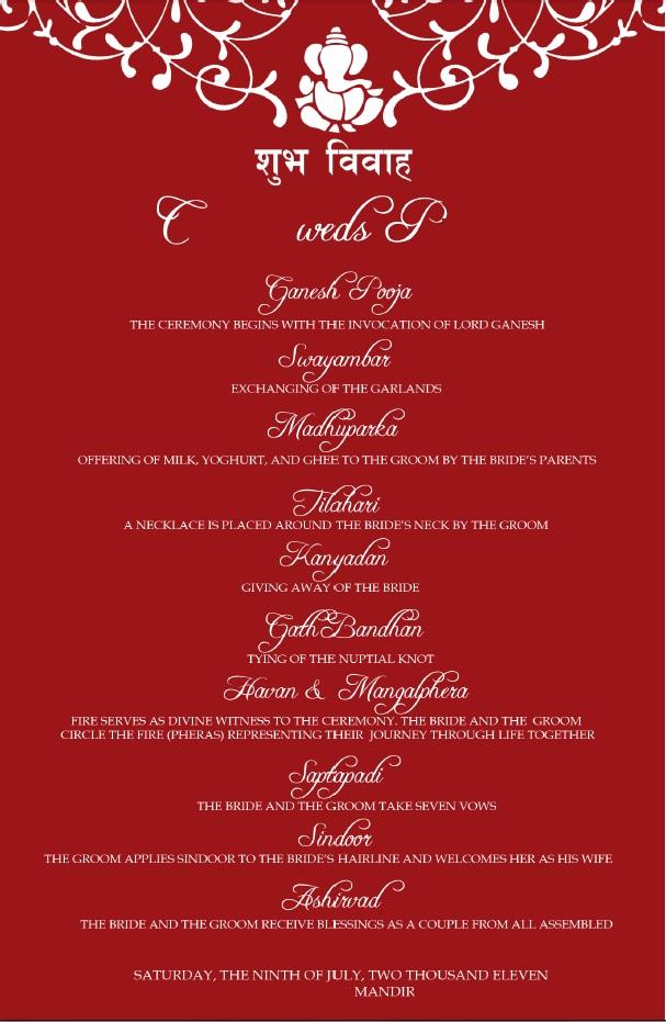 Red Wedding Program
